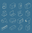 smart home thin line isometric icon set vector image