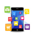 smart phone with applications vector image vector image