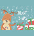 smiling deer with gifts and candy cane celebration vector image