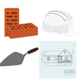 Spatula house plan brick and helmet vector image vector image