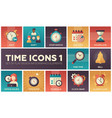 time icons - modern set of flat design vector image vector image
