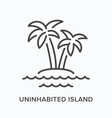 uninhabited island flat line icon outline vector image vector image