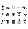 black volleyball icons set vector image