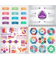 set of infographics charts paper stickers vector image