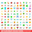 100 suburban house icons set cartoon style vector image vector image