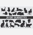20 cats silhouettes various design set vector image
