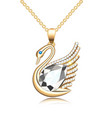 a gold jewelry swan pendant with precious stones vector image