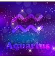 aquarius zodiac sign on a cosmic purple vector image