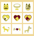 assembly flat icons dogs cats pets vector image