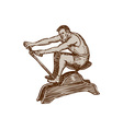 Athlete Exercising Vintage Rowing Machine Etching vector image