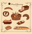 bakery colored hand drawn set vector image