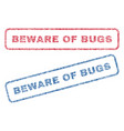 beware of bugs textile stamps vector image vector image