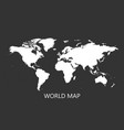 blank white world map isolated on black vector image vector image