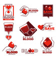 blood donation and charity help isolated icons vector image vector image