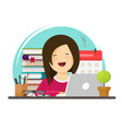 business woman happy working on office work place vector image