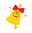 cute funny smiling golden school bell character vector image vector image