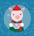cute pig in a cap drinking tea winter card vector image vector image