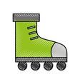 cute scribble green roller skates vector image vector image