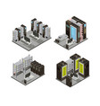 data center isometric compositions vector image vector image