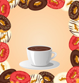 Donuts with cup of coffee on beige vector image