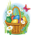 easter eggs in wicker basket vector image vector image