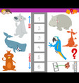 educational workbook with large and small animals