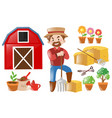 farmer and farming elements vector image vector image
