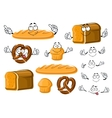 Fresh baked bread loaf cupcake and pretzel vector image