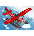 Isometric Artic Hydroplane in Flight in Front View vector image