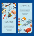 isometric marine logistics and seaport web vector image vector image