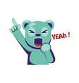 joyful blue bear holding hand up saying yeah on a vector image vector image