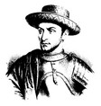 louis xi of france vintage vector image vector image