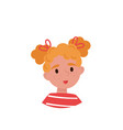 lovely girl with red hair avatar of cute little vector image vector image