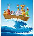 many animals on boat at sea vector image