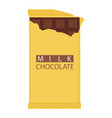milk chocolate bar isolated on white background vector image vector image