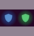 neon icon of blue and green network shield vector image