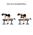 one arm dumbbell row exercise vector image vector image