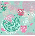 Owls and flowers seamless pattern vector image vector image