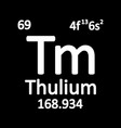 periodic table element thulium icon vector image vector image