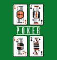 Poker playing cards queen and king diamond spade vector image