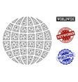 polygonal network mesh globe and network vector image