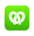 pretzel icon green vector image vector image