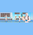 professional cleaners in hazmat suits janitors vector image vector image