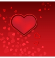 Red hearts Valentines day card on pink background vector image vector image