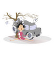 road accident crashed car and young woman vector image vector image