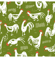 Seamless pattern with roosters Ink drawing vector image vector image