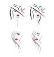 set beautiful stylish women faces logos vector image