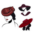 set women in hats in black and red colors vector image vector image