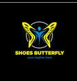 shoes butterfly logo designs vector image