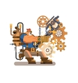 Steam engineer working vector image vector image
